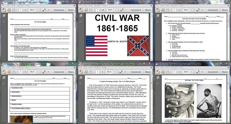 Contents of The Civil War Begins