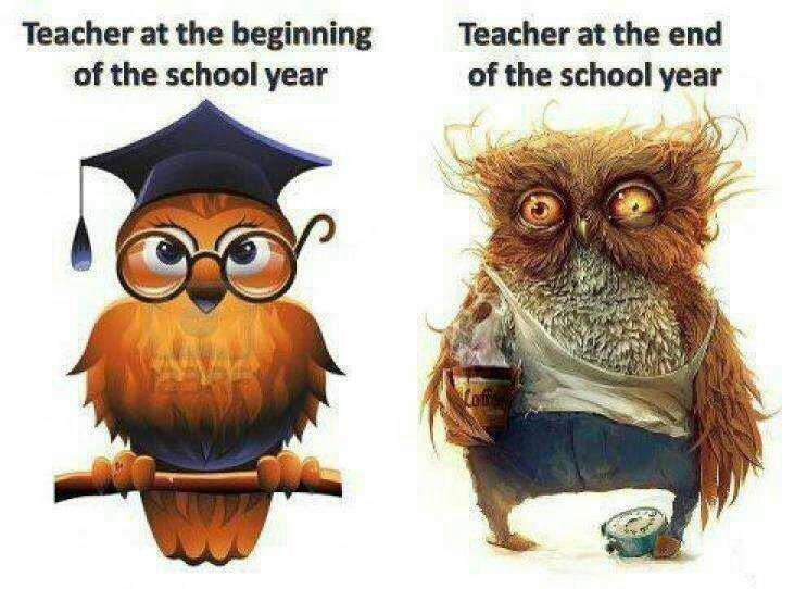 Teacher at the beginning and end of the school year